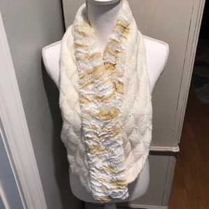 Loft cream faux fur and knit infinity scarf